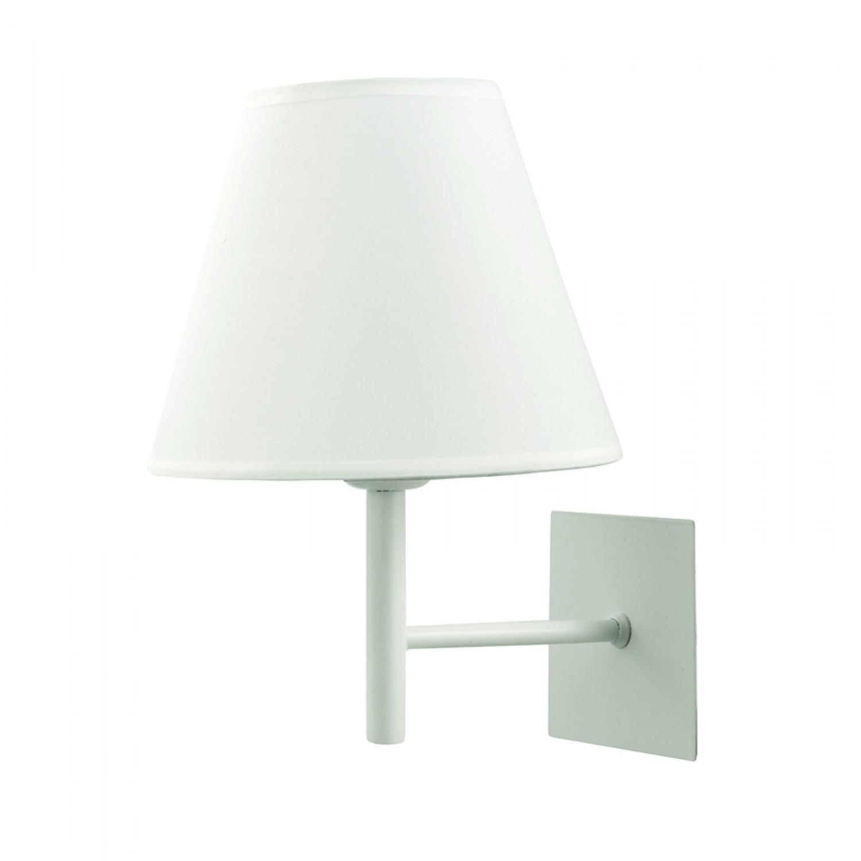 Επιτοίχιο φωτιστικό από μέταλλο σε λευκή απόχρωση και υφασμάτινο καπέλο (43338-Λευκό)