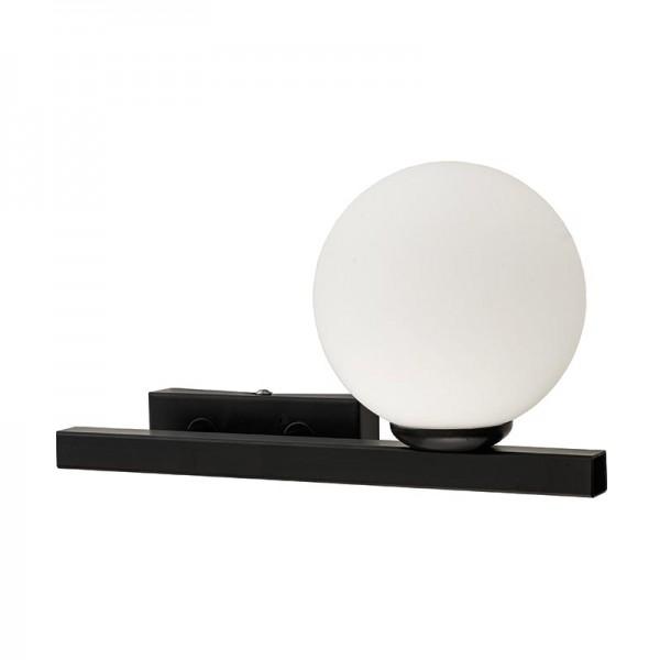 Επιτοίχιο φωτιστικό από μαύρο μέταλλο και λευκή οπαλίνα (43408-R-Μαύρο)
