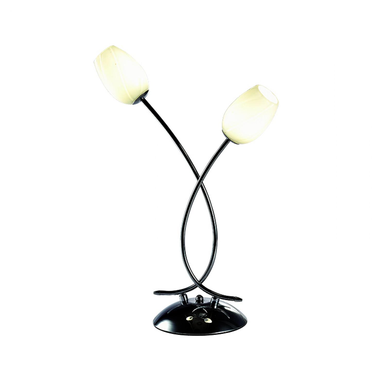 Επιτραπέζιο φωτιστικό από χρώμιο μέταλλο και λευκή οπαλίνα (3457-2Φ-Χρώμιο)