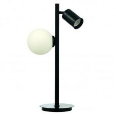 Επιτραπέζιο φωτιστικό από μαύρο μέταλλο και λευκή οπαλίνα (3466-Μαύρο)