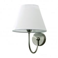 Επιτοίχιο φωτιστικό από μέταλλο σε νίκελ ματ απόχρωση και υφασμάτινο καπέλο (43022-Νίκελ Ματ)
