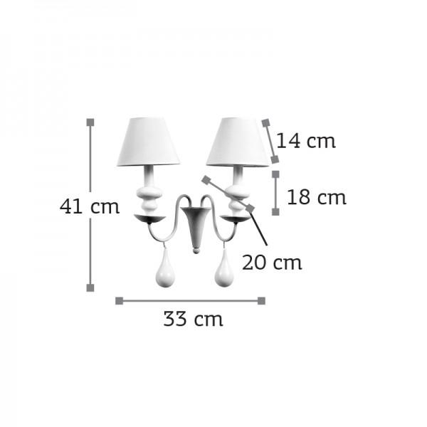 Επιτοίχιο φωτιστικό από λευκό μέταλλο και υφασμάτινο καπέλο (43333-2Φ-Λευκό)