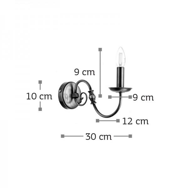 Επιτοίχιο φωτιστικό από οξυντέ μέταλλο (43369-Οξυντέ)