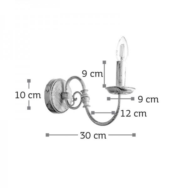 Επιτοίχιο φωτιστικό από μέταλλο σε λευκή πατίνα (43371-Λευκή Πατίνα)