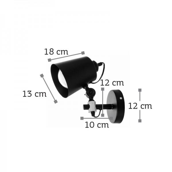 Επιτοίχιο φωτιστικό από μαύρο μέταλλο και ξύλο (43381-Μαύρο)