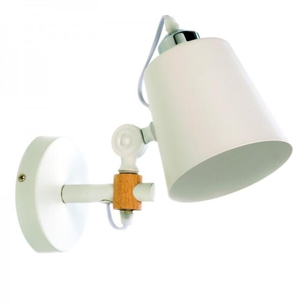Επιτοίχιο φωτιστικό από λευκό μέταλλο και ξύλο (43381-Λευκό)
