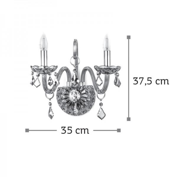 Επιτοίχιο φωτιστικό από διάφανο γυαλί και κρύσταλλα (43391-2Φ-Διάφανο)