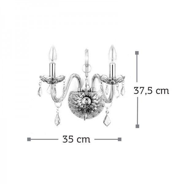Επιτοίχιο φωτιστικό από μελί γυαλί και κρύσταλλα (43391-2Φ-Μελί)