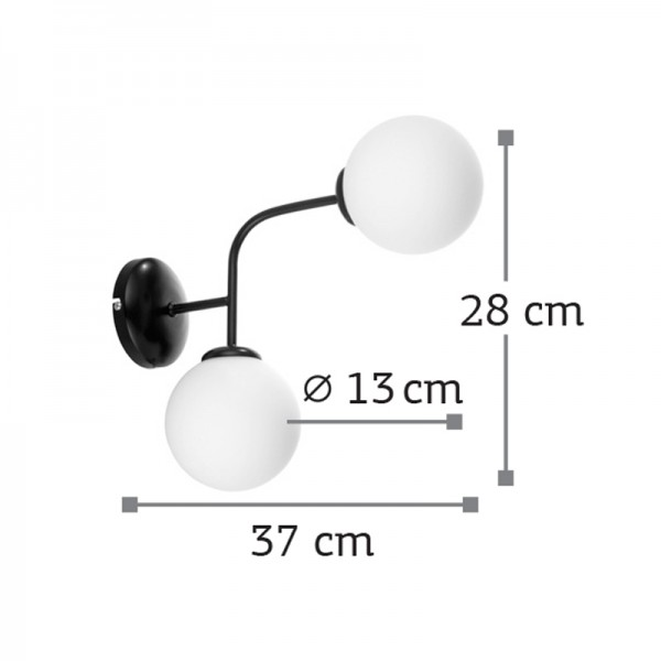 Επιτοίχιο φωτιστικό από μαύρο μέταλλο και λευκή οπαλίνα (43406-Μαύρο)