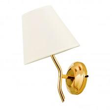 Επιτοίχιο φωτιστικό από μέταλλο σε χρυσή απόχρωση και υφασμάτινο καπέλο (43413-Χρυσό)