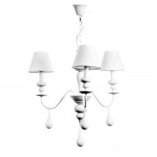 Κρεμαστό φωτιστικό από λευκό μέταλλο και υφασμάτινο καπέλο (5295-3Φ-Λευκό)