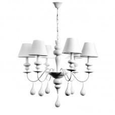 Κρεμαστό φωτιστικό από λευκό μέταλλο και υφασμάτινο καπέλο (5295-6Φ-Λευκό)