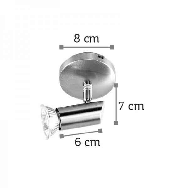 Επιτοίχιο σποτ από μέταλλο σε νίκελ ματ απόχρωση (9075-1Φ-Νίκελ Ματ)