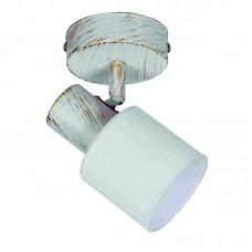 Επιτοίχιο σποτ από μέταλλο σε απόχρωση λευκής πατίνας (9079-1Φ-Λευκή Πατίνα)