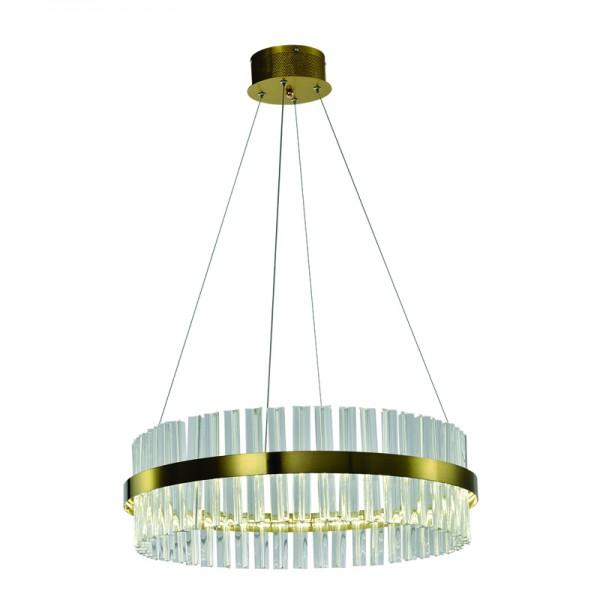 Κρεμαστό φωτιστικό από χρυσαφί αλουμίνιο και κρύσταλλα (6186-Χρυσαφί)