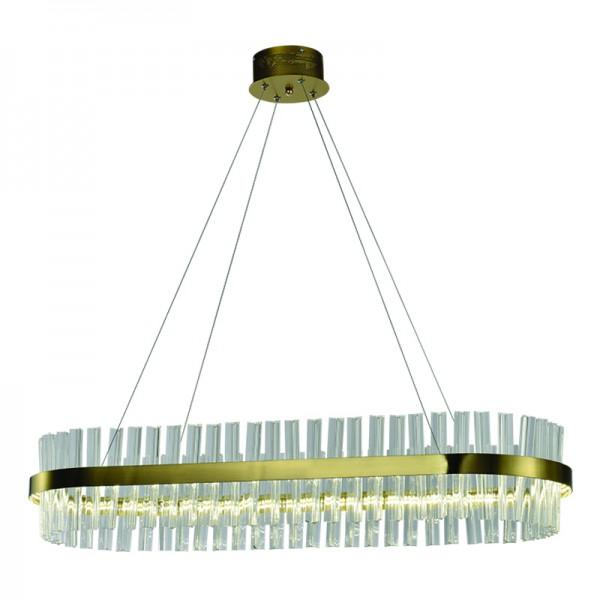 Κρεμαστό φωτιστικό από χρυσαφί αλουμίνιο και κρύσταλλα (6188-Χρυσαφί)