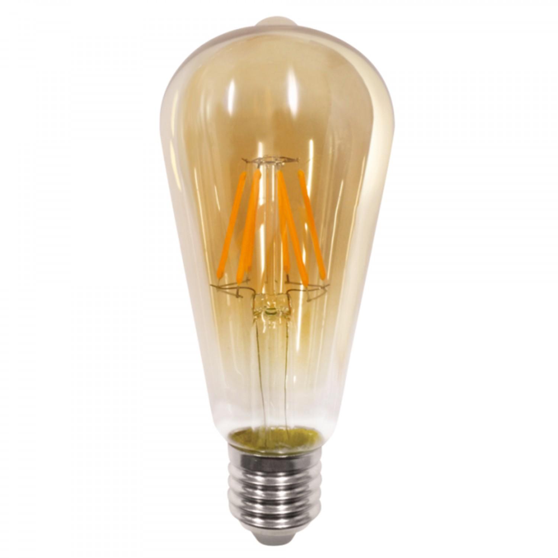 E27 LED Filament ST64 8watt Dimmable με μελί κάλυμμα