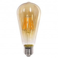 E27 LED Filament ST64 8watt Dimmable με μελί κάλυμμα