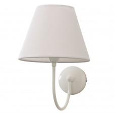 Επιτοίχιο φωτιστικό από μέταλλο σε λευκή απόχρωση και υφασμάτινο καπέλο (43022-Λευκό)