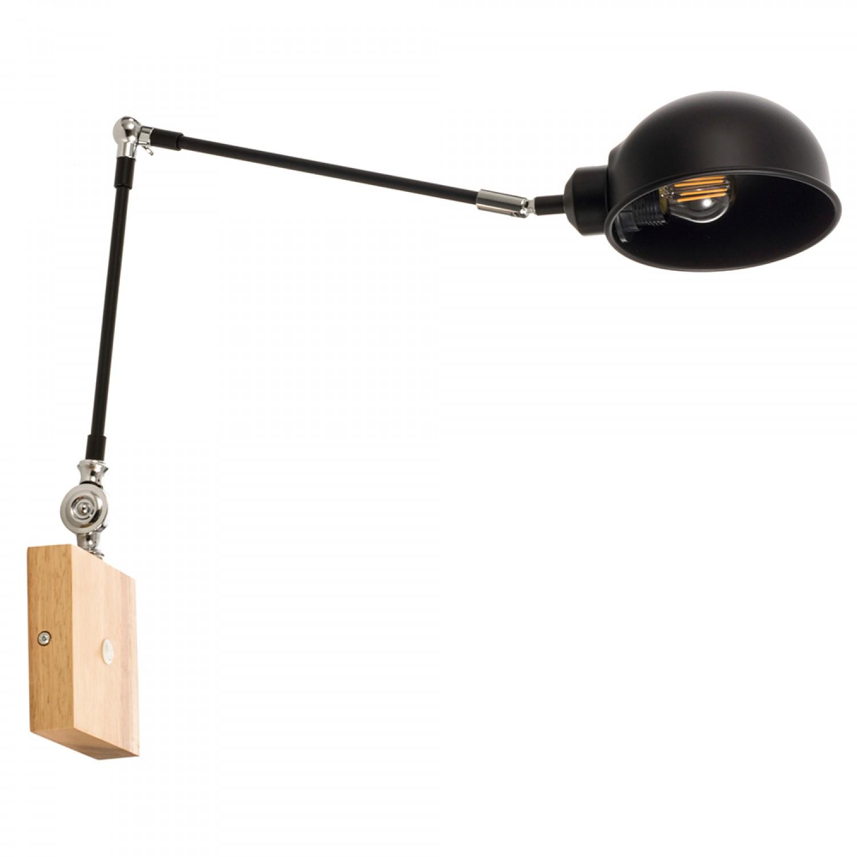 Επιτοίχιο φωτιστικό από μαύρο μέταλλο και ξύλο (43386-Μαύρο)