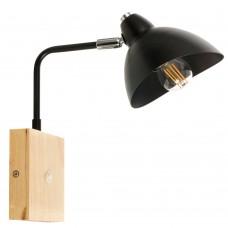 Επιτοίχιο φωτιστικό από μαύρο μέταλλο και ξύλο (43387-Μαύρο)