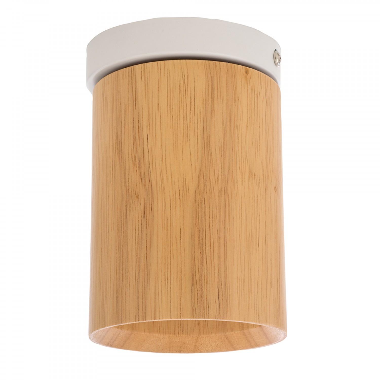 Σποτ σταθερό από ξύλο και λευκή βάση (42158-Λευκό)